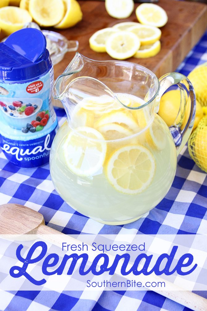 This is seriously the BEST lemonade I've ever had!  Adn it's so simple!  This is the sugar free version, but you can easiliy replace the Equal with regular sugar if that's what you want to do.  The measurement is the same.