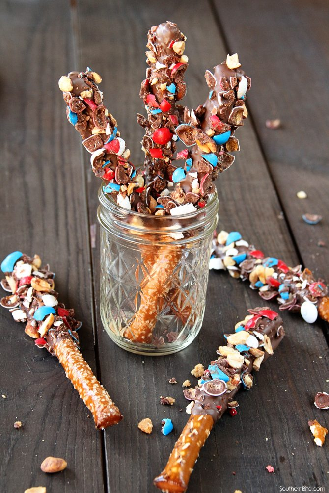 Sweet and Salty Peanut M&M covered pretzel rods!