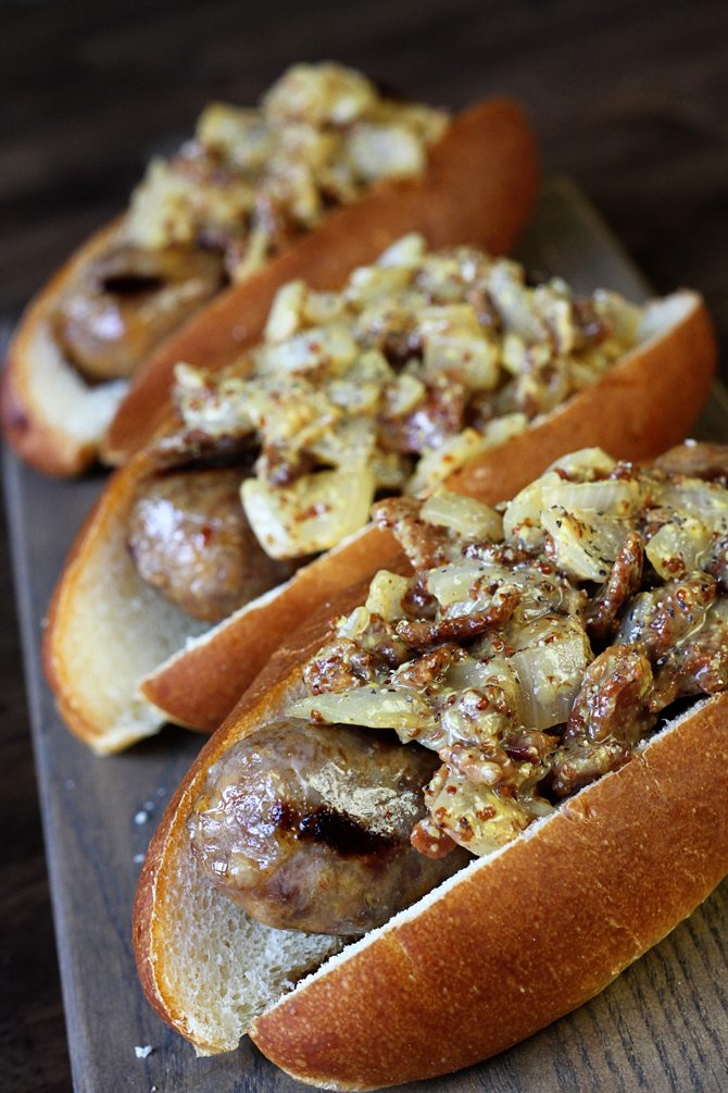 This Warm Bacon Onion Relish will elevate your brats and dogs and will make you king of the grill this summer!