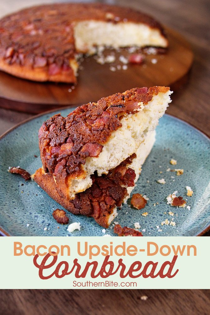 Flip your taditional recipe on its head and make this bacon flavored explosion called Bacon Upside-Down Cornbread!