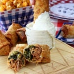 Pulled Pork and Collard Green Egg Rolls with Alabama White BBQ Dipping Sauce