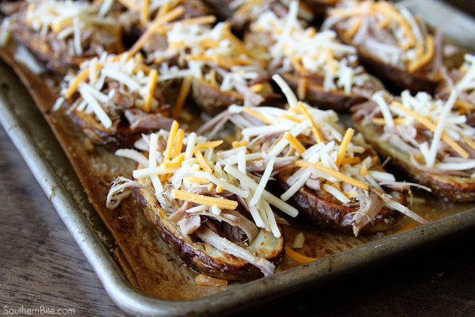These Pulled Pork Stuffed Potato Skins are the perfect hearty snack or appetizer and are great for your football watching parties!