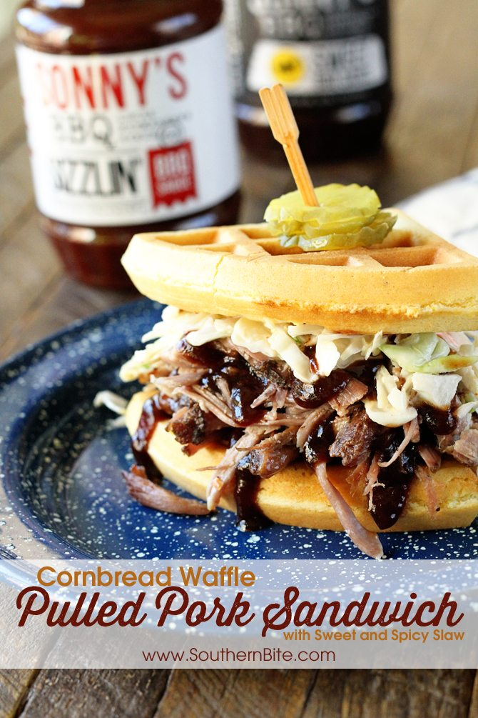 These Cornbread Waffle Pulled Pork Sandwiches with Sweet and Spicy Slaw and my new favorite thing! And they're so easy since the pork is done right in the slow cooker!