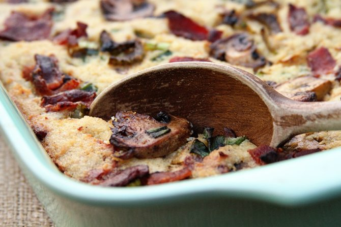 This Bacon Mushroom Cornbread Dressing adds ton of flavor to your Thanksgiving spread!