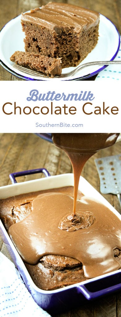 Collage image of Buttermilk Chocolate Cake for Pinterest