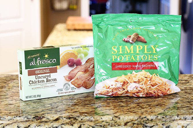 Hash browns, eggs, spinach, and chicken bacon combine to make this lightened-up version of a breakfast classic!
