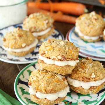 Carrot Cake Whoopie Pies with Cinnamon Cream Cheese Filling