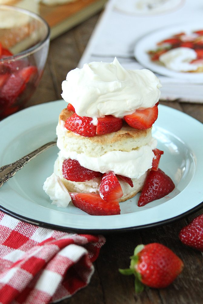 These Strawberry Shortcakes with Sweet Cream Cheese Biscuits are the stuff dreams are made of. Seriously.