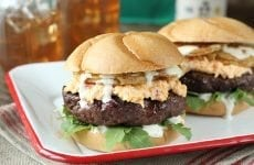 Put a little South in your mouth with this burger topped with pimiento cheese, fried green tomatoes, and Alabama White BBQ Sauce!