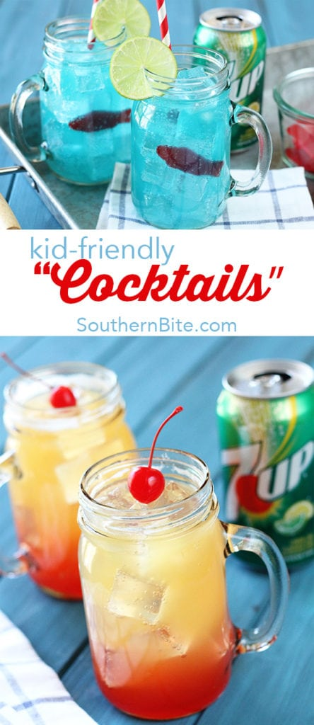 "These kid-friendly Ocean Water and Pineapple Sunrise ""cocktails"" made with 7UP are the perfect things to keep the kiddos cool this summer! They're pretty cool looking, too! #ad"