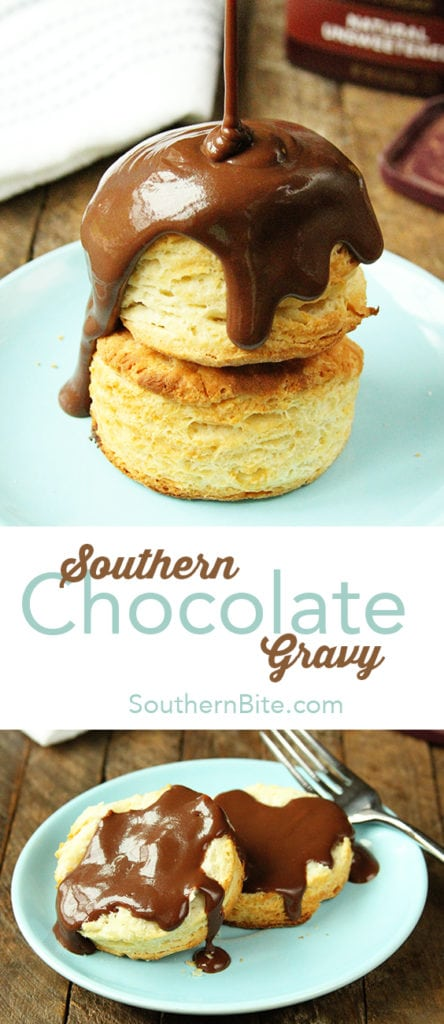 This amazingly delicious and easy Chocolate Gravy is delicious on hot biscuits, pound cake, or even ice cream!