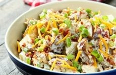 This Loaded Baked Potato Salad has all the flavor of the classic steakhouse side, but is perfect for your summer BBQs!