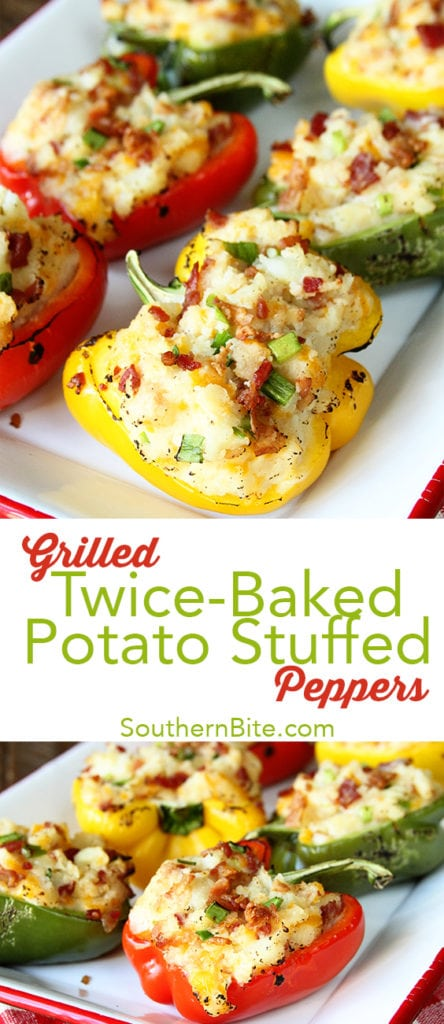 These Grilled Twice Baked Potato Stuffed Peppers are the perfect addition to your summer menu!