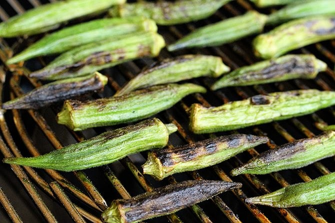Grilling okra is my new favorite way to cook it! Tons of flavor and no slime!
