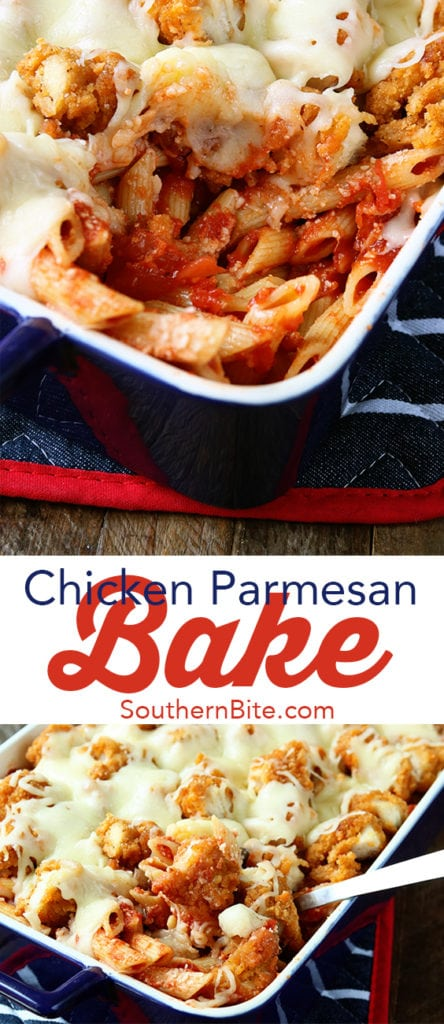 This Chicken Parmesan Bake turns the classic recipe into an amazingly easy casserole your family will love!
