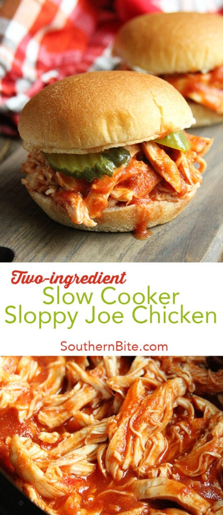 This Slow Cooker Sloppy Joe Chicken recipe only calls for 2 ingredients and gets supper on the table with absolutely no fuss!