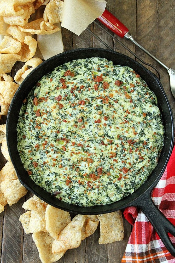 This creamy Turnip Green Dip has tons of smoky bacon flavor and is the perfect appetizer for your next gathering!