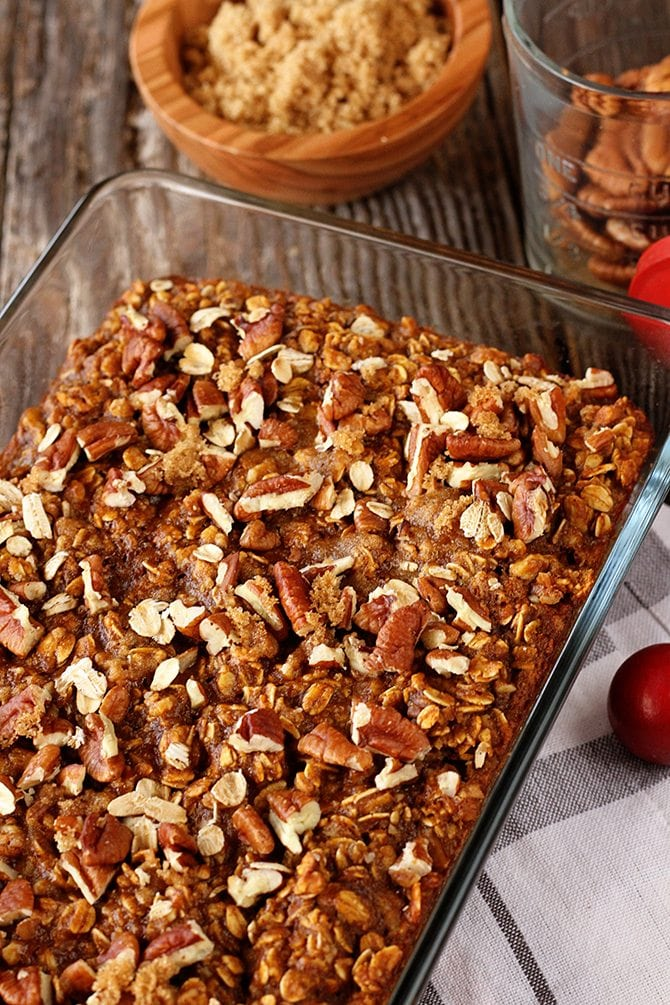 Pumpkin, pecans, brown sugar, and oatmeal combine in this classic recipe made over for fall!