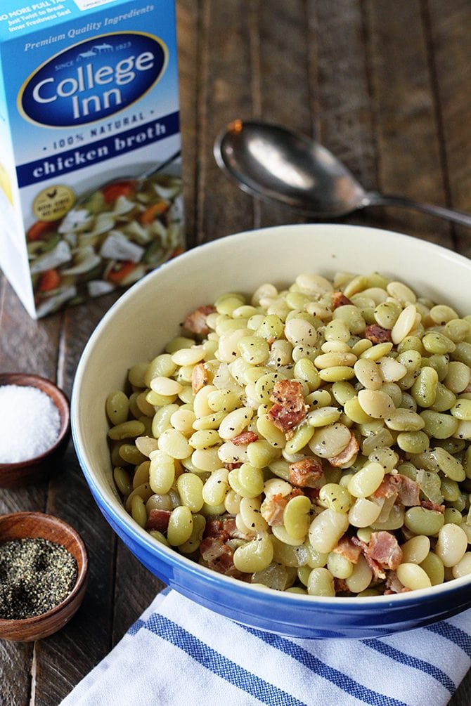 Southern Butter Beans with Bacon in a blue bowl