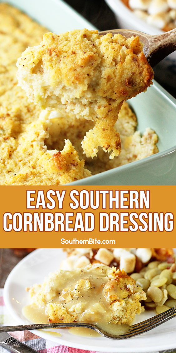 This classic Southern Cornbread Dressing is a simple, easy recipe that's been passed down for generations! It's a must for your Thanksgiving table!