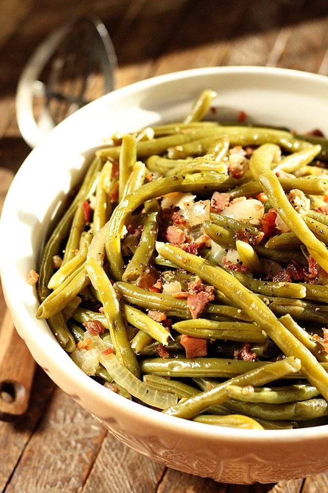 Free up space on the cooktop and make these easy Southern Green Beans right in the slow cooker! They're so easy!