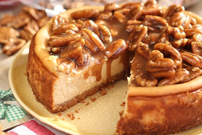 You won't believe just how easy or how delicious this Caramel Pecan Cheesecake is!