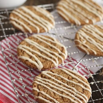 Chewy Gingerbread Cookies with Eggnog Drizzle