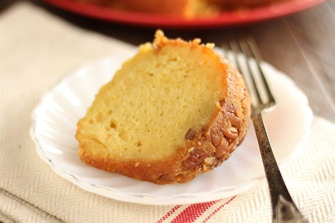 This Easy Rum Cake starts with a cake mix but ends up as Rum Cake Perfection. It's perfect for the holidays! #rumcake #rum #cake #recipe #easy