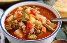 This delicious homemade vegetable beef soup recipe only takes about 45 minutes and is so easy!