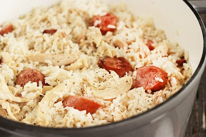 Chicken Bog, Chicken Perlo, Chicken Pilau - regardless of what you call it, I just call it delicious. This rustic dish of chicken, sausage, and rice is a family favorite recipe!