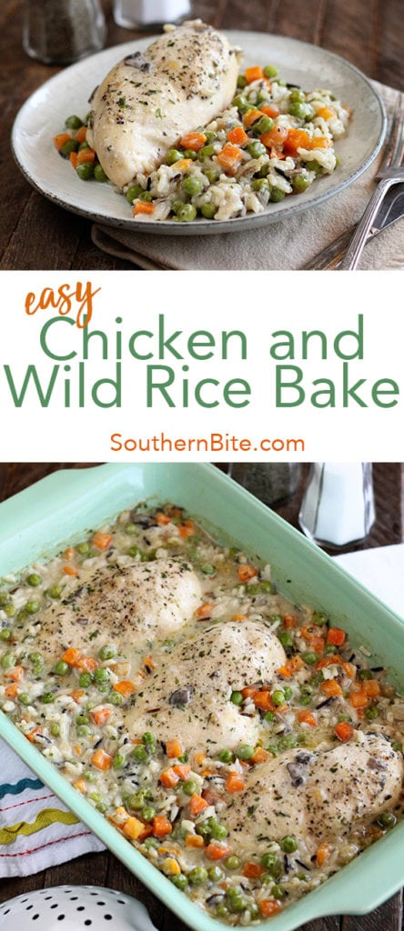 This Easy Chicken and Wild Rice Bake recipe only calls for 4 ingredients and is crazy easy! #recipe #chicken #rice #easy #casserole