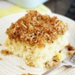 Slice of Pineapple Cake with Coconut Crump Topping