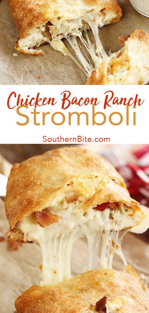 You only need 5 ingredients to get this quick and easy Chicken Bacon Ranch Stromboli on the table. It'll be your family's new favorite supper recipe!