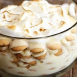 Banana Pudding layered in clear glass bowl