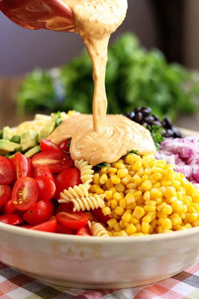This Taco Pasta Salad recipe is the perfect summer salad that you can change up to suit your tastes! #salad #taco #pasta #Mexican