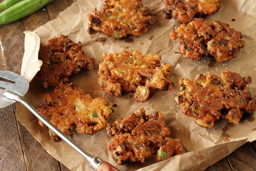 Get the best of fried green tomatoes and fried okra together in this Fried Okra & Green Tomato Fritters recipe.