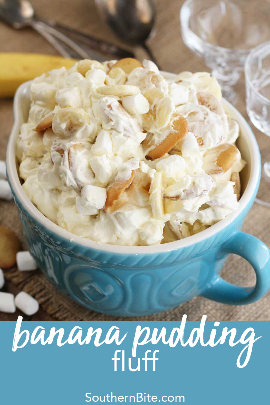 This Banana Pudding Fluff recipe is a fun and easy twist on a Southern classic!