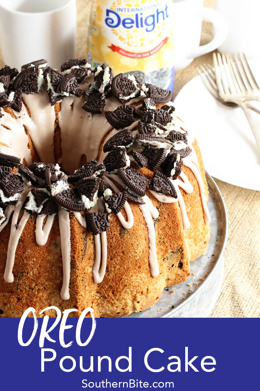 Classic flavors combine in this delicious OREO Pound Cake recipe! It has all the great flavor of a traditional pound cake, but is kicked up with tons of OREO flavor!