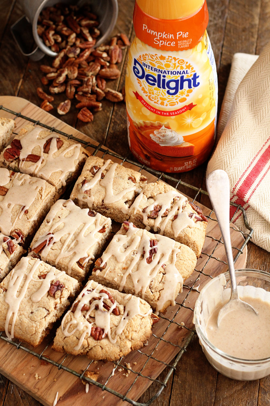 Pumpkin Pie Spice Pull Apart Biscuits with glaze on top