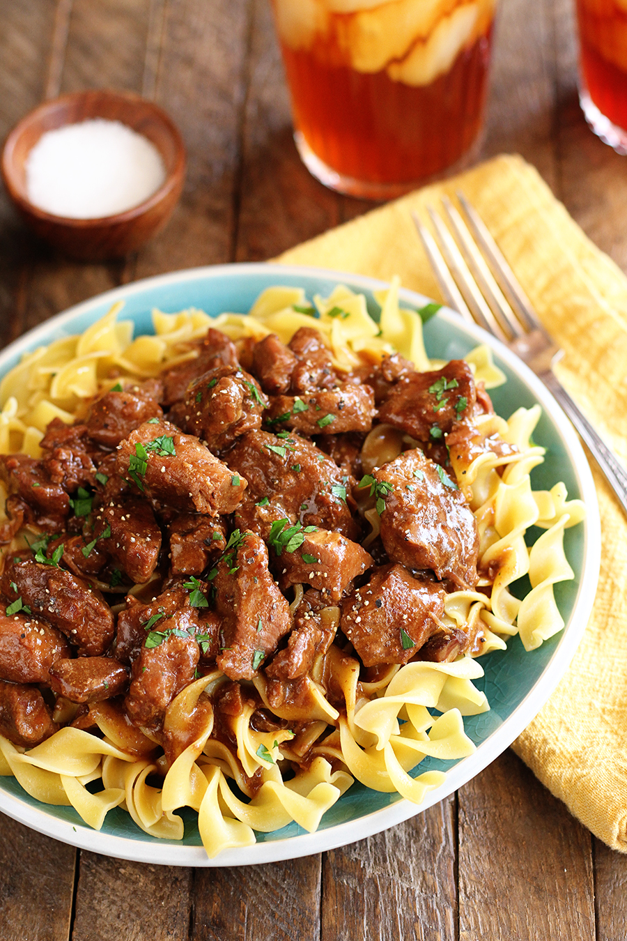 Slow Cooker Beef and Noodles on green plate