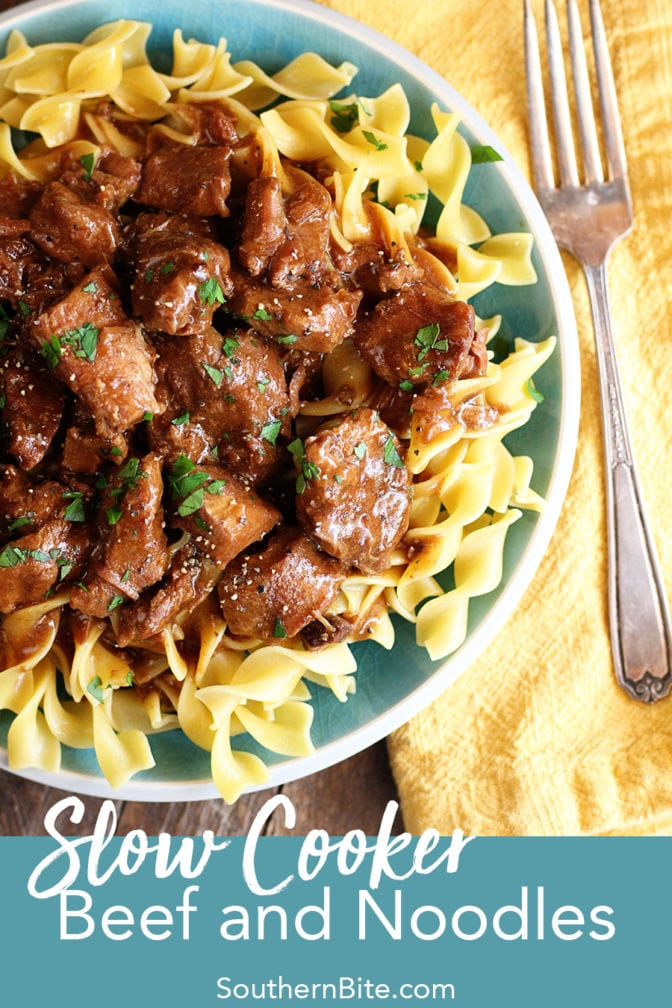 Slow Cooker Beef and Noodles for Pinterest