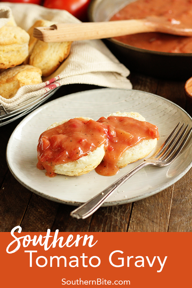 This easy recipe for Southern Tomato Gravy is the perfect complement for homemade biscuits, scrambled eggs, grits, etc.!