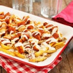 Buffalo Chicken Fries served in red and white dish