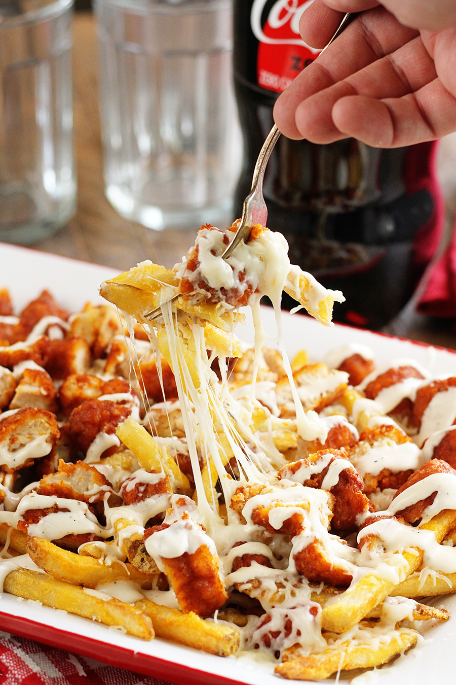Buffalo Chicken Fries begin served with fork