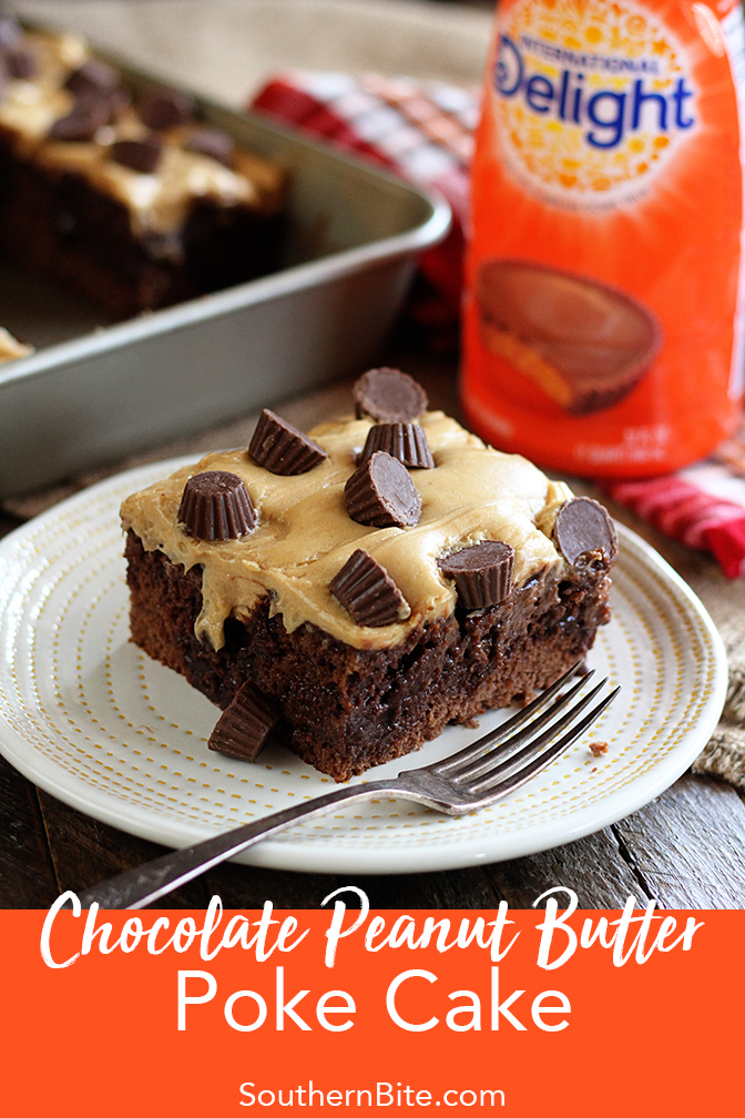 All the great flavor of Reeses peanut butter cups in this easy recipe for my Chocolate Peanut Butter Poke Cake!