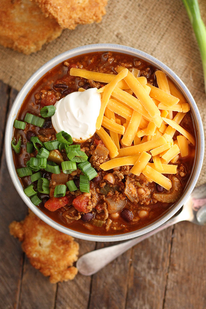 Bloody Mary Chili in serving bowl