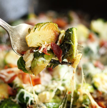 Cheesy Brussels Sprouts with Bacon