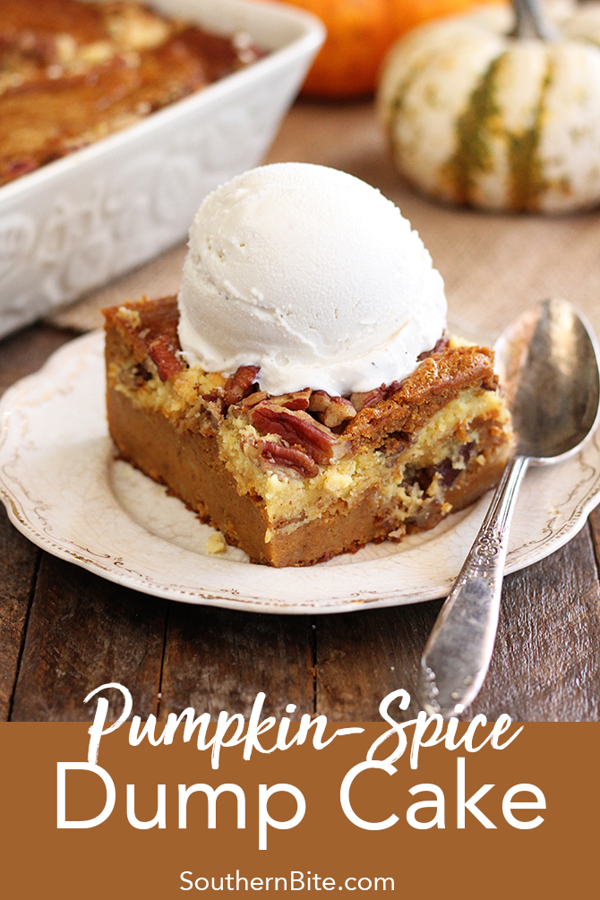The delicious flavors of fall shine in the super easy recipe for Pumpkin Spice Dump Cake!
