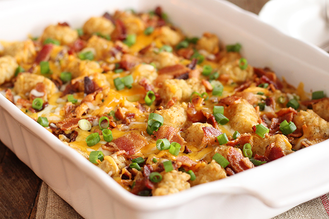 This Bacon and Eggs Tater Tot Casserole is the perfect easy and filling breakfast or brunch!
