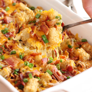 Bacon and Eggs Tater Tot Casserole being served